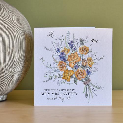 50th Anniversary Flower Bouquet Card