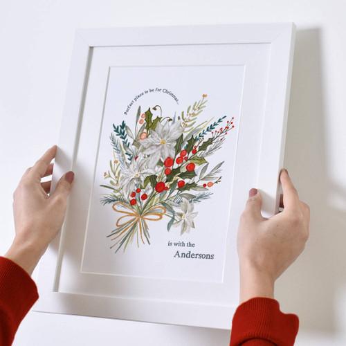 Personalised Floral Christmas Print