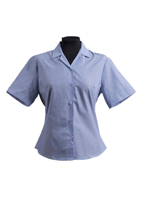 Sutton Valence blue semi-fitted S/S blouse - twin pack (63395)