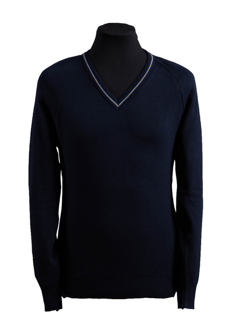 Sutton Valence navy jumper with trim (36246)