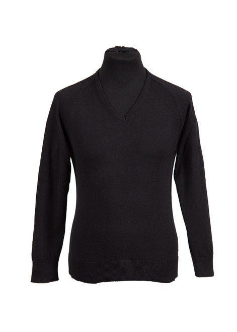 Black fully fashioned v-neck jumper  (36020)