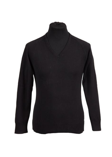 Black fully fashioned v-neck jumper  (36020)