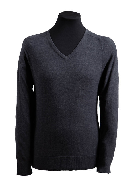 Charcoal fully fashioned v-neck jumper (36025)