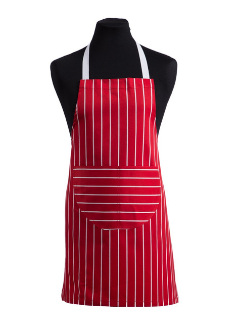Red striped food technology apron (31002)