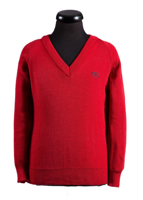 Beechwood Prep red v-neck for boys Reception - yr 6 (68271)