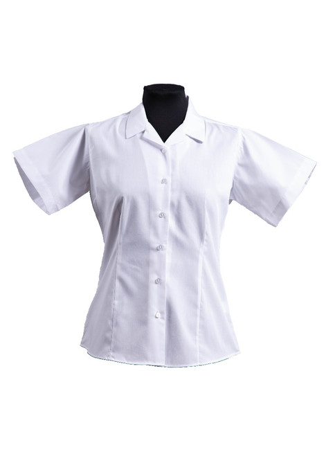 Short-sleeved white open neck fitted blouse - twin pack (63104)