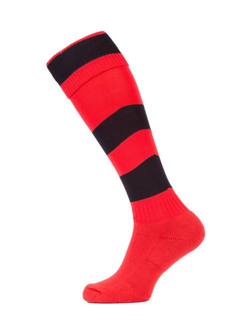 Beechwood Senior red/black hoop sock (40190)