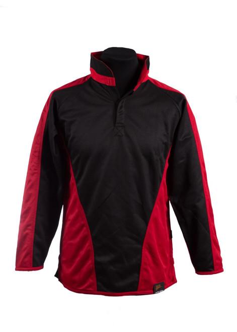 Black/scarlet reversible rugby shirt - unisex (42087)