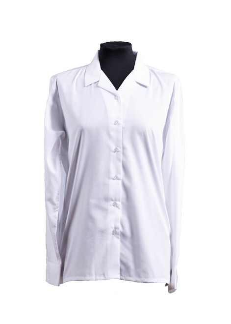 Dulwich white long sleeved blouse - twin pk (63107)