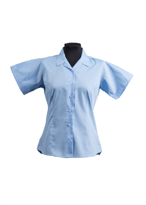 Lingfield College Prep short sleeved fitted blue blouse - twin pk  (63491)