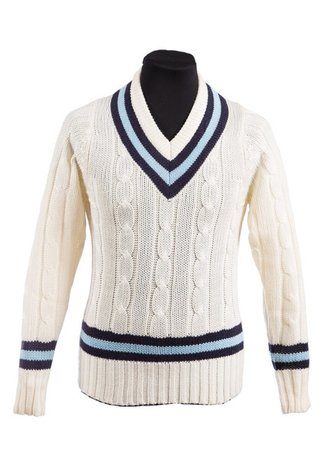 Sutton Valence cricket pullover with blue trim (42002)