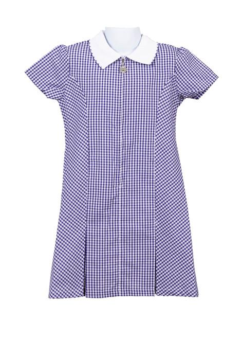 Purple gingham summer dress (79032)
