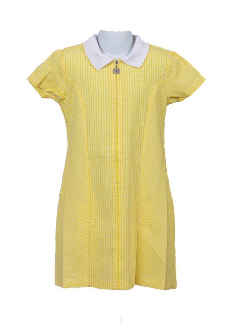 Yellow gingham summer dress (79034)
