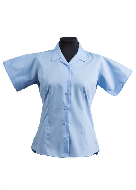 The Mead School short sleeved fitted blue blouse - twin pk (63491)