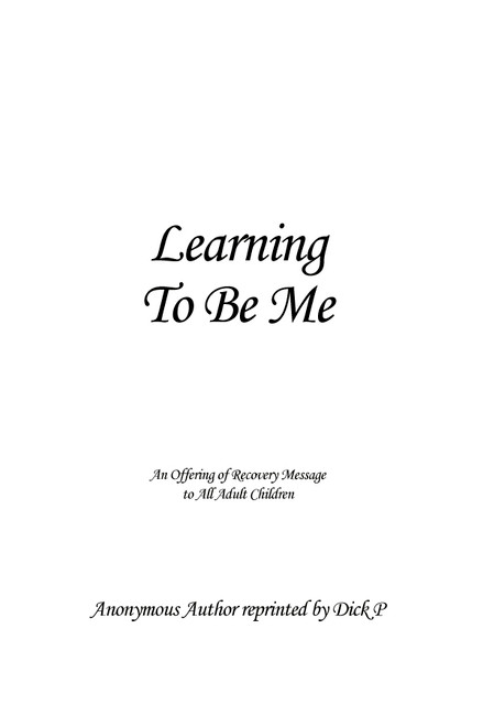Learning to Be Me - eBook