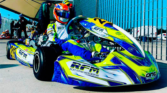 Ricky Flynn Motorsport kart on the grid with custom printed graphics