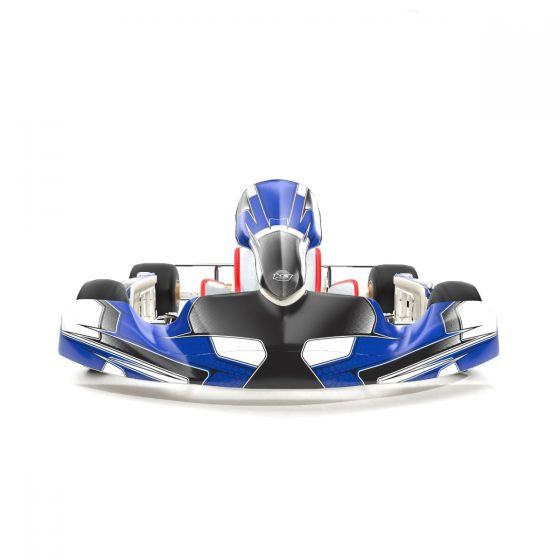 Viper Blue Kart Graphics Kit Front Low View