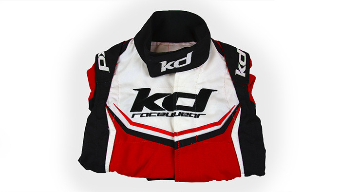 Folded embroidered karting suit