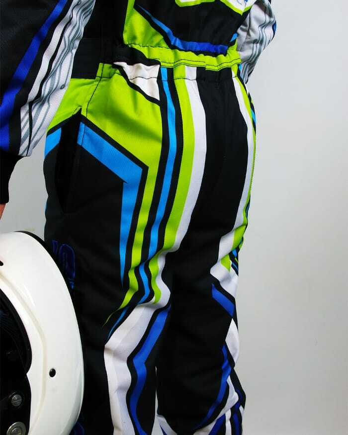 Green Blue Sublimated  Lower back side of the suit