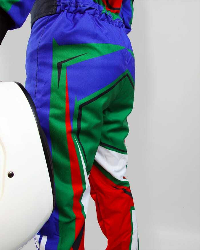 RGB Lower back side of a kart suit with a white crash helmet