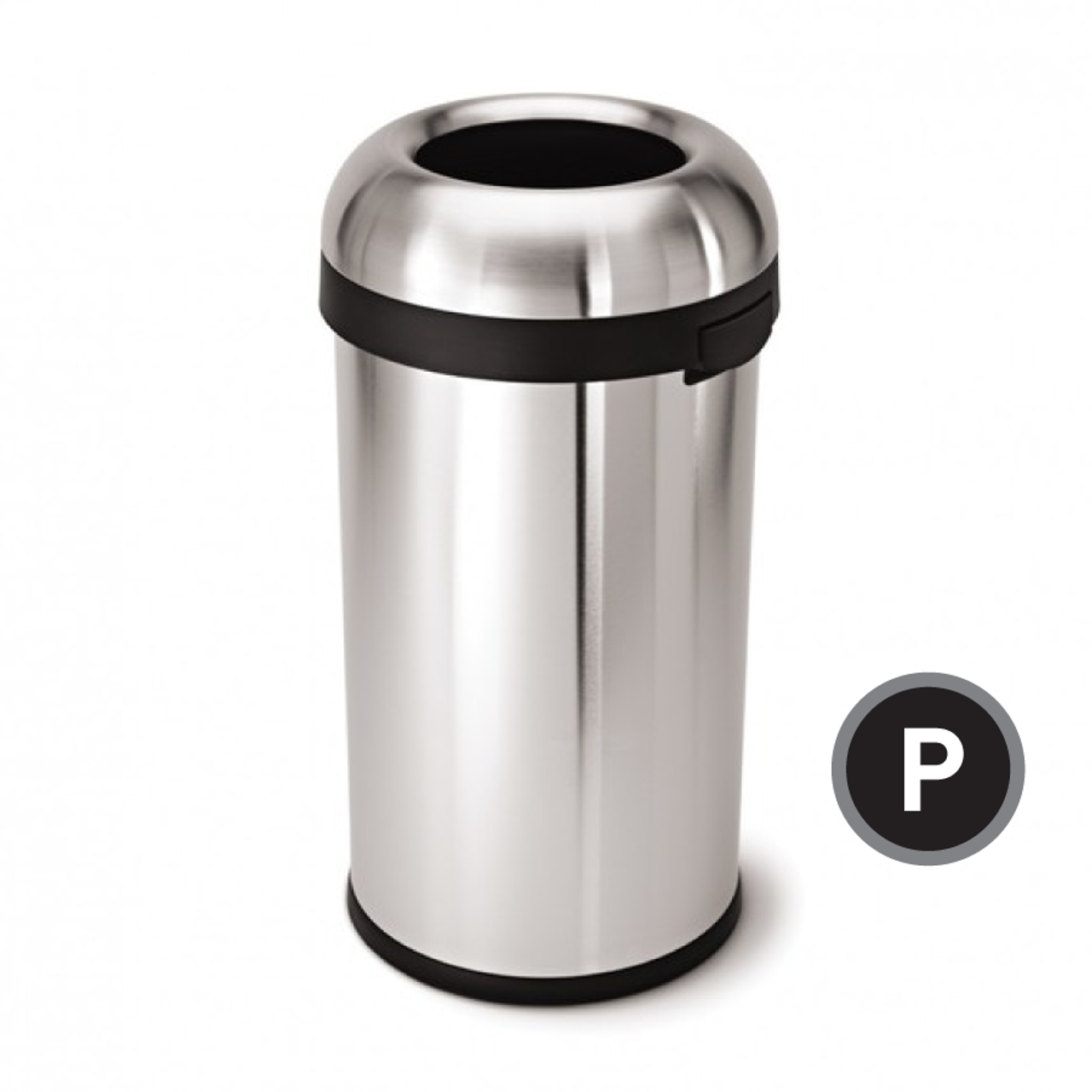 . Simplehuman Bullet Open Trash Can  Stainless Steel  60 liter  CW1407