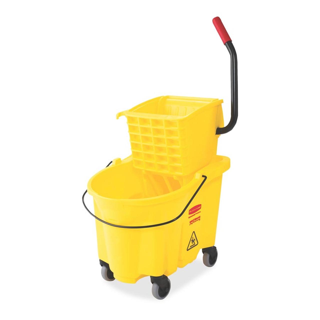 Rubbermaid Commercial WaveBrake 2 0 Bucket/Wringer Combos, Side-Press, 26  qt, Plastic, Yellow