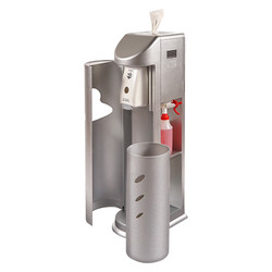 The Cleaning Station Gym Wipes Dispenser + Hand Sanitizing Station, TCS-S, Silver