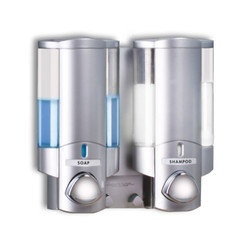 AVIVA Double Soap Dispenser, 2 Chambers, Satin Silver