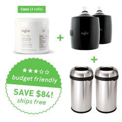 New Club Bundle: Zogics Sanitizing Gym Wipes (4 rolls/case) + 2 Upward Gym Wipes Dispenser + 2 Simplehuman Bullet Open Cans, 60-liter