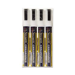Deflecto Liquid Chalk Marker, Chisel, White, (4 units/pack) (DEFSMA510V4WT)