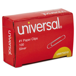 Universal Office Products Paper Clips, Smooth Finish, No. 1, Silver, 1000/Pack