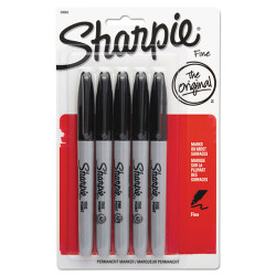Sharpie® Fine Point Permanent Marker, Black, 5/Pack