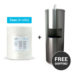 Value Wipes (4 rolls/case) + Stainless Steel Gym Wipes Floor Dispenser with Door, Z650-Z1500