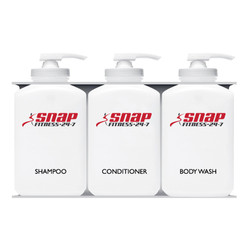 Snap Fitness Bulk Personal Care Dispensers, 3 Chambers, Shampoo + Conditioner + Body Wash
