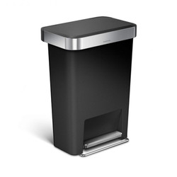 Simplehuman Rectangular Step Can, Plastic, Black