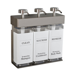 SOLera Triple Soap Dispenser, 3 Chambers, Satin Silver