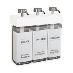 SOLera 3 Chamber Liquid Dispenser Replacement Bottle Set, White Labels (39334-R3-RBS-White)