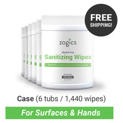 Hand Sanitizing Wipes Tub, Case of 6