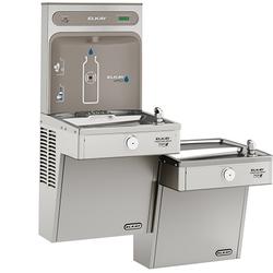 Elkay EZH2O Bottle Filling Station & Bi-Level High Efficiency Vandal-Resistant Cooler, Filtered 8 GPH, Stainless Steel, LVRCGRNTL8WSK