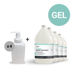 80% Alcohol Gel Hand Sanitizer (4 Gallons) + Table Top Gel Pump Dispenser, 32 oz (Case of 4)
