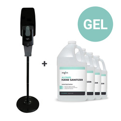 60% Alcohol Gel Hand Sanitizer + Touch-Free Automatic Sanitizer Gel Dispenser With Floor Stand (DIS01GELSTD-ZHSG128-4) Black Dispenser
