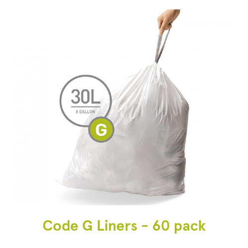 Simplehuman Custom Fit Trash Can Liners, Code G - 60 Pack
