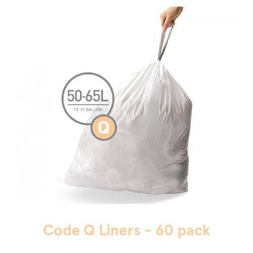 Simplehuman Custom Fit Trash Can Liners, Code Q - 60 Pack