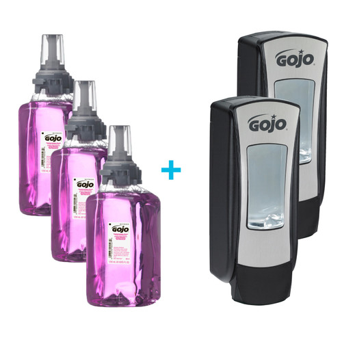 GOJO ADX-12 Antibacterial Plum Foam Handwash, 1250 mL (3 refills/case) + 2 GOJO ADX-12 Dispensers