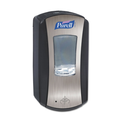 Purell LTX-12 Touch-Free Automatic Gel Hand Sanitizer Dispenser, 1200mL, Brushed Chrome/Black, 1928-04