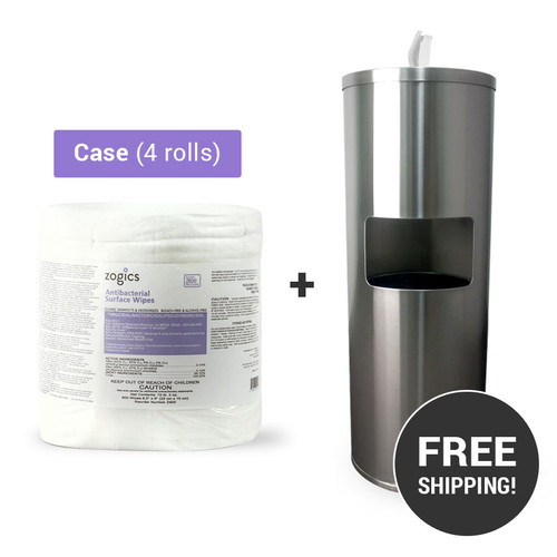 Antibacterial Wipes (4 rolls/case) + Stainless Steel Gym Wipes Floor Dispenser with Door, Z650-Z800
