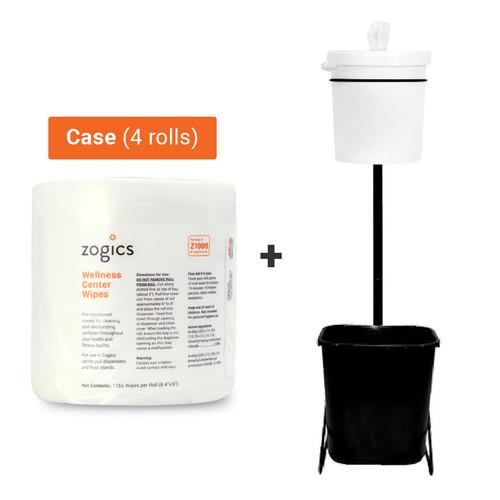 Wellness Center Wipes (4 rolls/case) + Gym Wipe Bucket Stand Bundle, Z1000-Z500-B