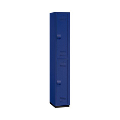 "Salsbury Double Tier Heavy Duty Plastic Locker, 18"" Deep Blue"