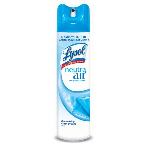Aerosol air freshener and sanitizer.