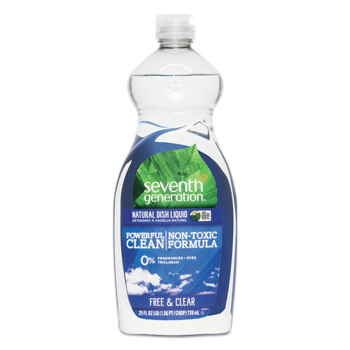 Vegetable-based dishwashing liquid without chlorine or phosphates.